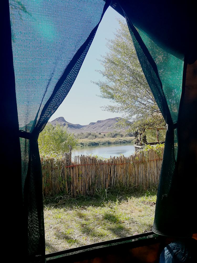 Ausblick aus Zelt